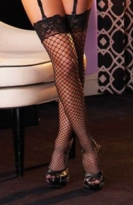Industrial Net Thigh Highs W/Lace Top